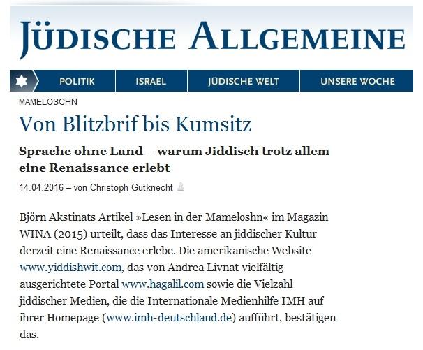 IMH-Artikel Jüdische Allgemeine Jiddische Sprache Björn Akstinat Internationale Medienhilfe